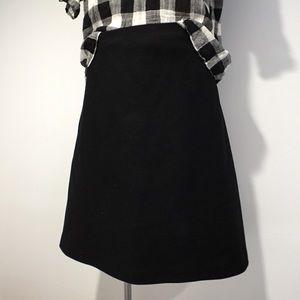 J. Crew black wool a-line flare skirt petite 10